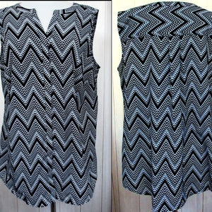 Talbots Abstract Chevron Print Tunic Blouse 1X